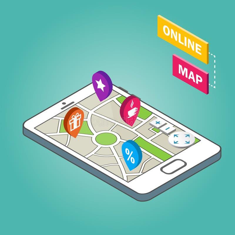 Isometrisches Smartphone mit Stadtplan Moderne infographic Schablone lizenzfreie abbildung