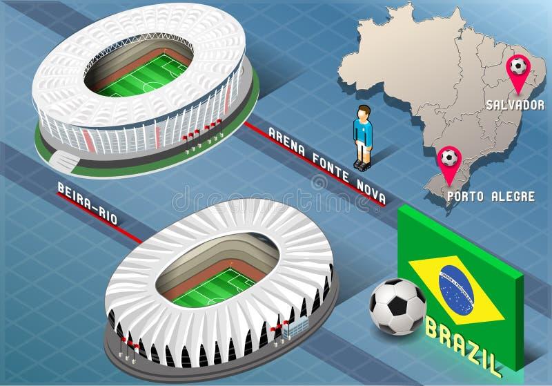 Isometrisches Stadion von Salvador und von Porto Alegre, Brasilien stock abbildung