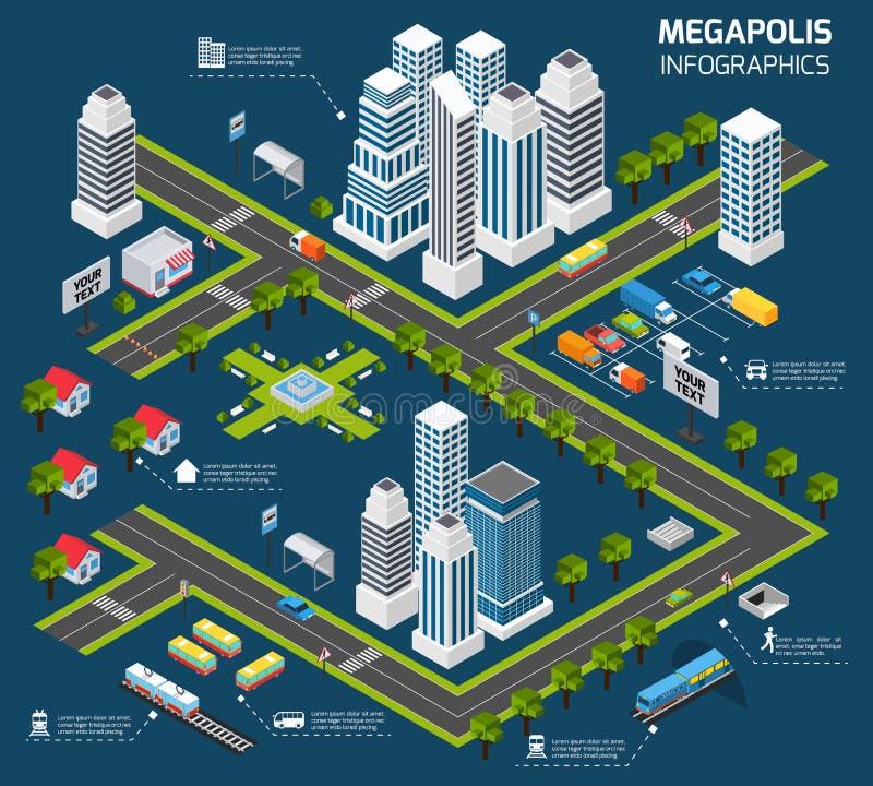 Isometrisches Stadt-Konzept lizenzfreie abbildung