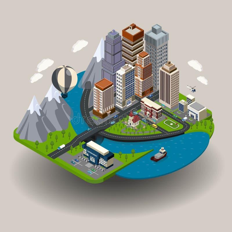 Isometrisches Stadt-Konzept vektor abbildung