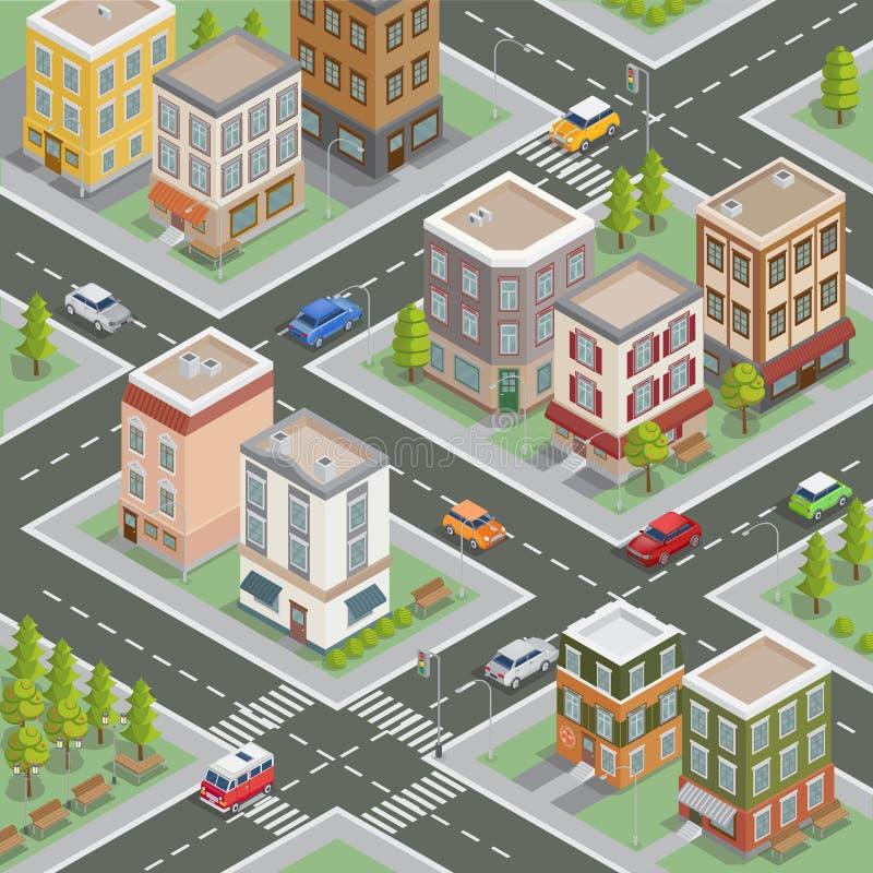 Isometrisches Stadtbild Isometrische Gebäude Isometrische Häuser lizenzfreie abbildung