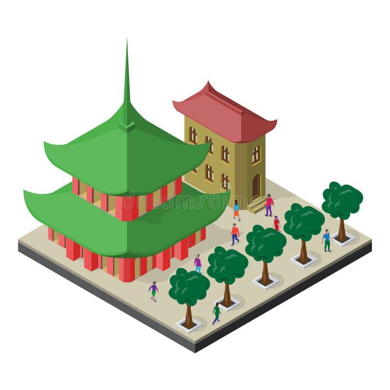 Isometrisches Stadtbild mit orientalischer Kultur Pagode, Gebäude, Bäume Gasse und Leute stock abbildung