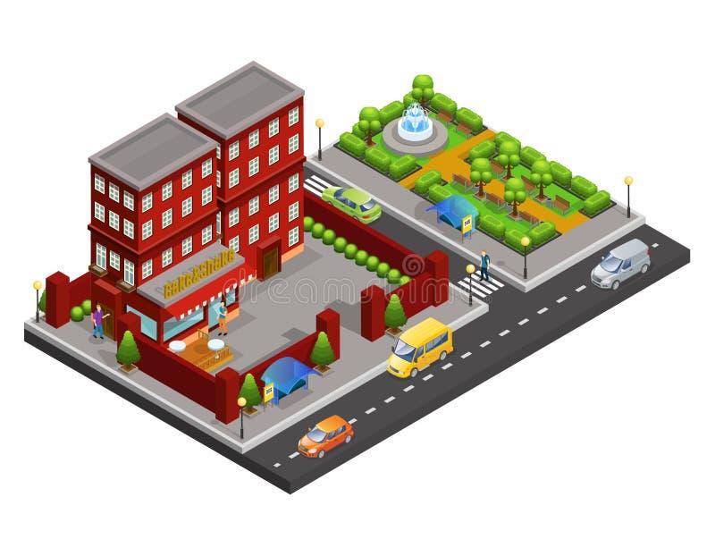 Isometrisches Straßen-Café-Konzept stock abbildung