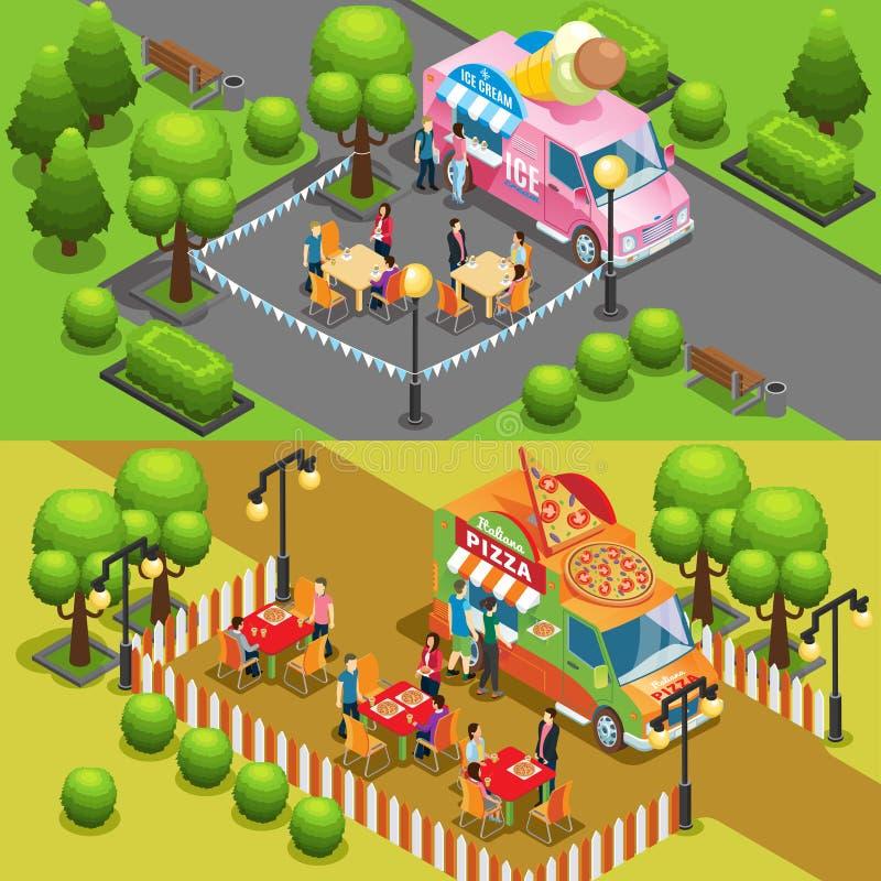 Isometrisches Straßen-Lebensmittel-horizontale Fahnen vektor abbildung