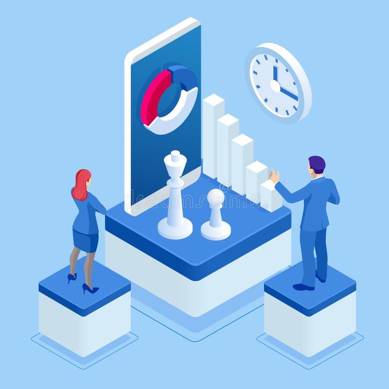 Isometrisches Strategie- und Planungskonzept Geschäftsleute, die mit Schachspiel plaing sind Strategie-Entwicklungs-Ziel-Marketin vektor abbildung