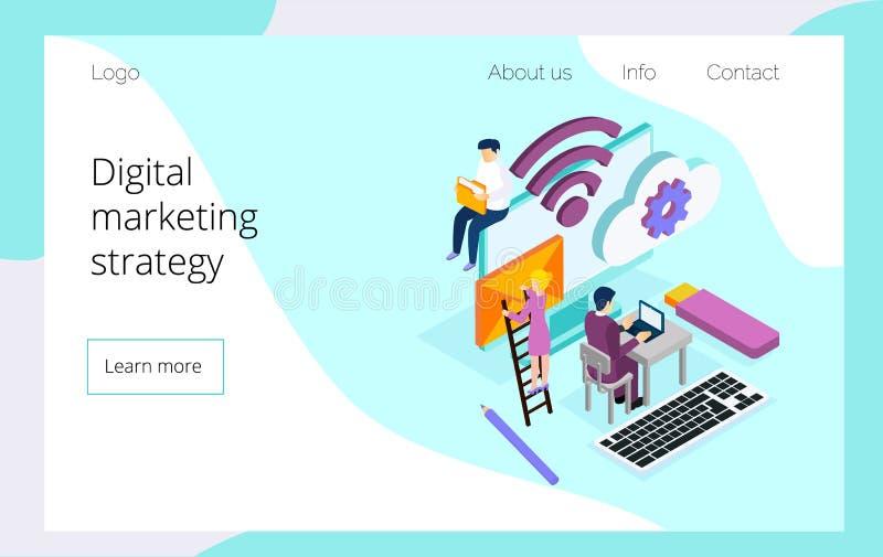 Isometrisches Team von den Spezialisten, die an Landungsseite der digitalen Marketingstrategie arbeiten stock abbildung
