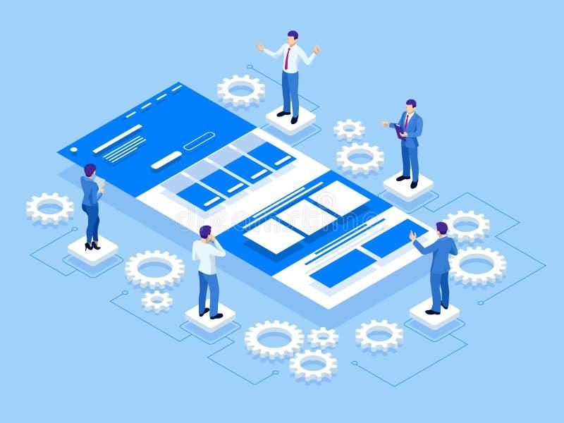 Isometrisches UI- oder UX-Konzept des Entwurfes, Anwendungsentwicklung Sich entwickelnde Programmierung des Netzes und Kodierung  stock abbildung