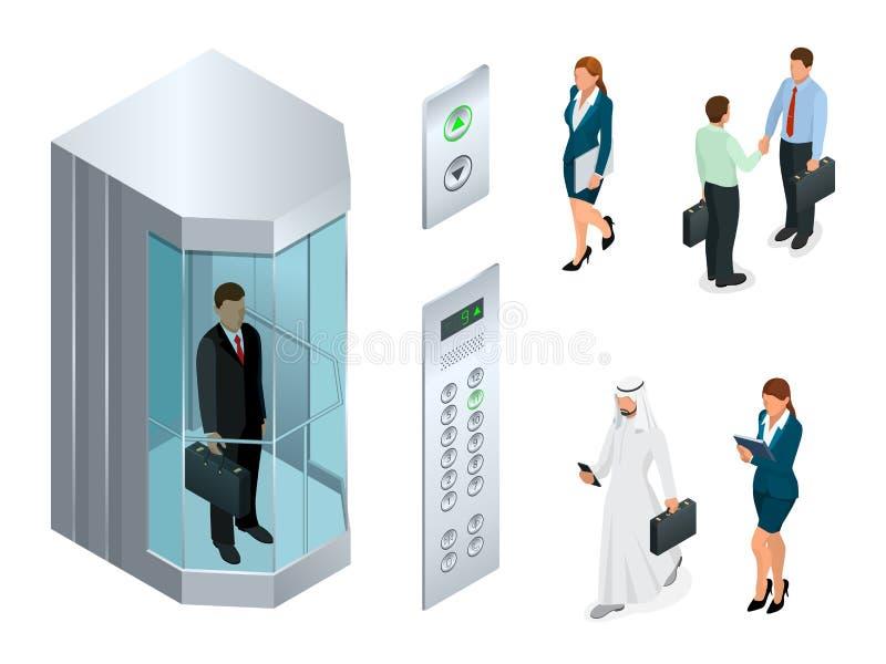 Isometrisches Vektordesign des Aufzugs mit Leuten innerhalb und Knopfplatte Realistischer leerer Aufzugshalleninnenraum mit lizenzfreie abbildung