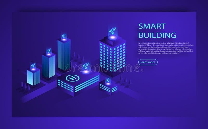 Isometrisches Vektorkonzept der intelligenten Stadt oder des intelligenten Gebäudes stock abbildung