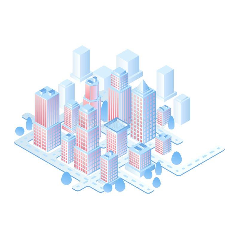 Isometrisches Vektorkonzept der intelligenten Stadt oder des intelligenten Gebäudes Isometrische futuristische Stadtvektorillustr lizenzfreie abbildung