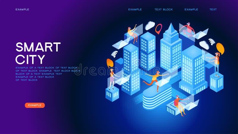 Isometrisches Vektorkonzept der zukünftigen Stadt oder des intelligenten Gebäudes lizenzfreie abbildung