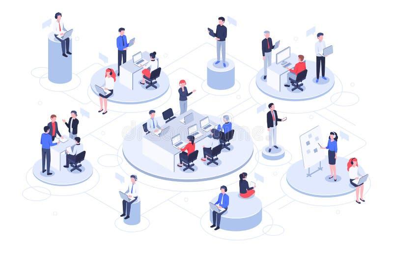Isometrisches virtuelles Büro Geschäftsleute, die zusammenarbeiten, Technologiefirmen Arbeitsplatz und Teamwork-Plattformvektor vektor abbildung