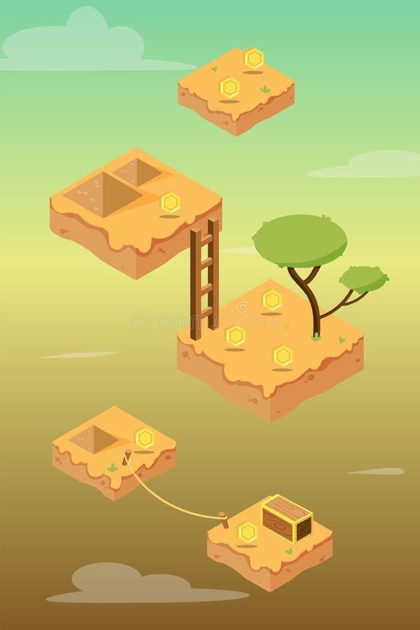 Isometrisches Wüsten-Spiel-Anlagegut lizenzfreie abbildung