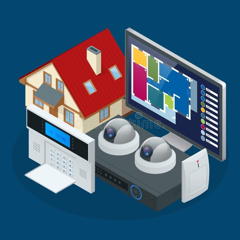 Isometrisches Warnungssystemhaus Inländisches Wertpapier Sicherheits-Warnungs-Tastatur mit Person Arming The System Greifen Sie z lizenzfreie abbildung
