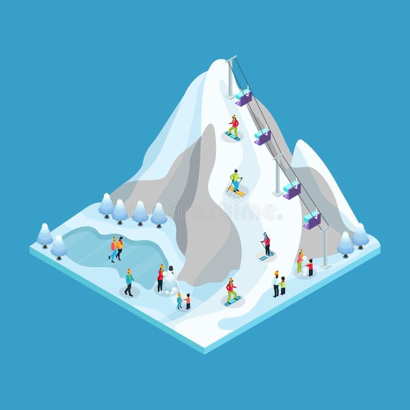 Isometrisches Winter-Freizeitbetätigungs-Konzept stock abbildung