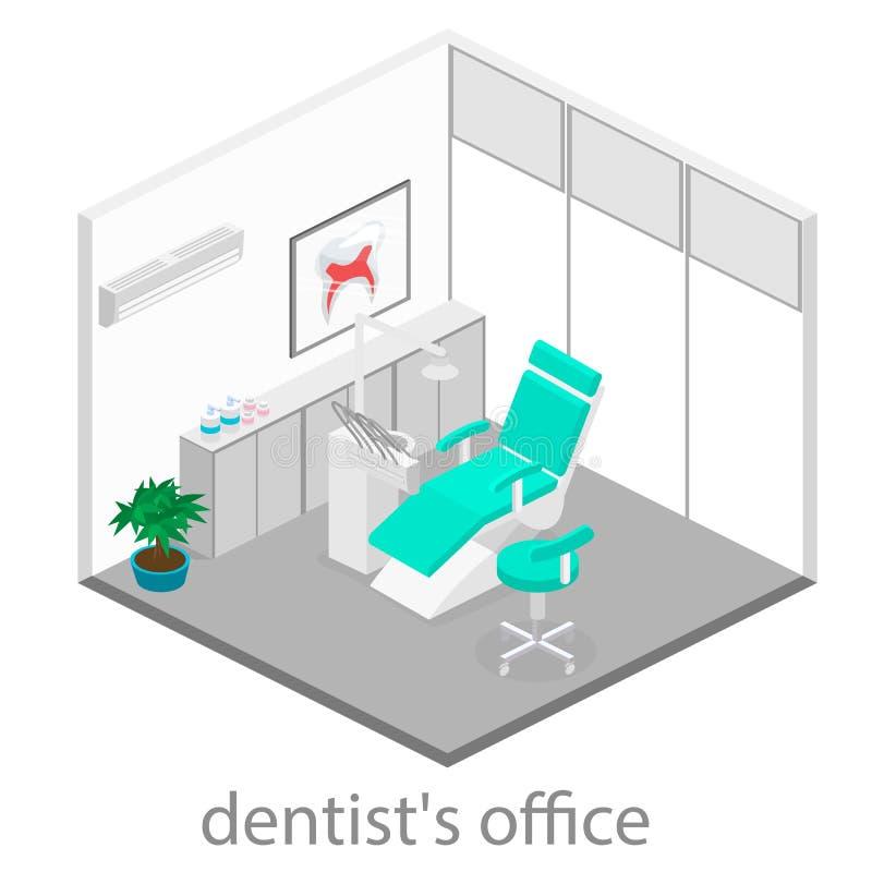 Isometrisches Zahnarztbüro Zahnheilkunde und Doktorbüro, zahnmedizinisch und medizinisch, Gesundheit mündlich, Mundgesundheitswes vektor abbildung