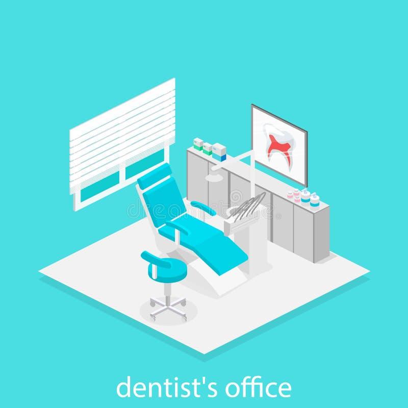 Isometrisches Zahnarztbüro Zahnheilkunde und Doktorbüro, zahnmedizinisch und medizinisch, Gesundheit mündlich, Mundgesundheitswes lizenzfreie abbildung