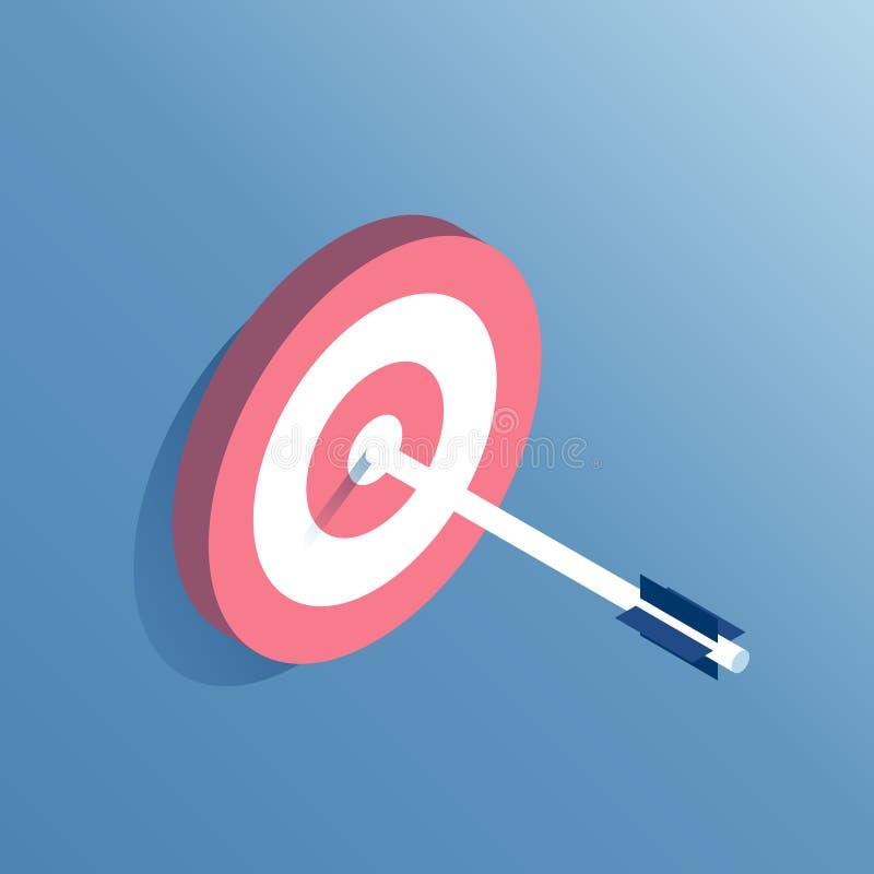 Isometrisches Ziel und Pfeil stock abbildung