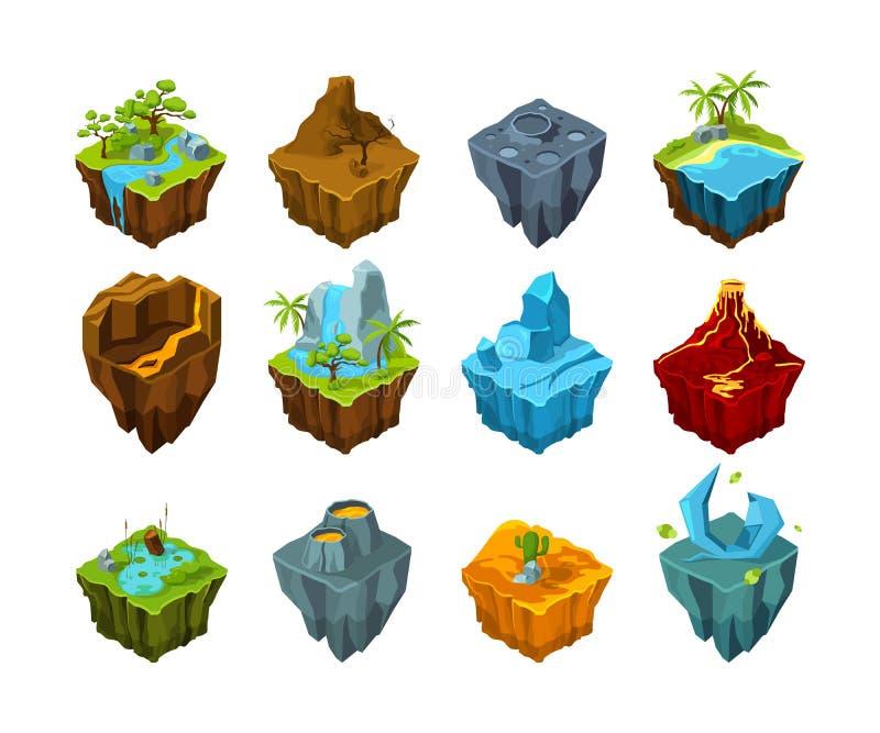 Isometrisk ö Flyga länder med olika typer av vektorn för vatten för krater för vulkan för texturkristallmåne som ställas in på fö royaltyfri illustrationer
