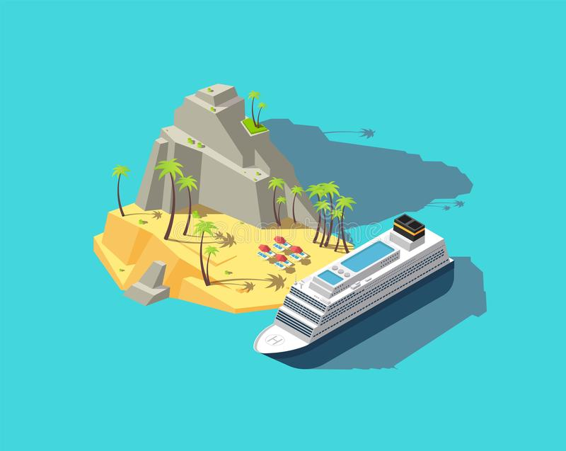 Isometrisk ö Paradis i havet strand 3d i havet Begrepp för vektor för sommarferie royaltyfri illustrationer