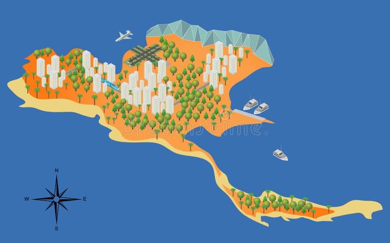 Isometrisk ö, strand, sommar, hav, yachter, nivå stock illustrationer