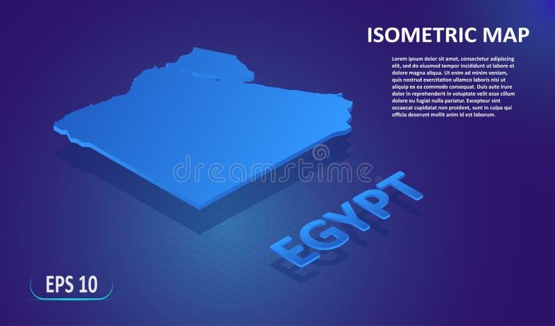 Isometrisk översikt av EGYPTEN Stiliserad plan ?versikt av landet p? bl? bakgrund Modern isometrisk ?versikt f?r l?ge 3d med vektor illustrationer