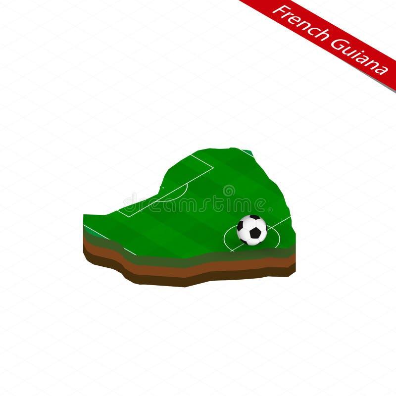Isometrisk översikt av Franska Guyana med fotbollfältet Fotbollboll i mitt av fotbollgraden vektor illustrationer