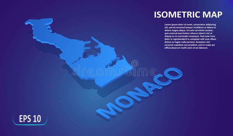 Isometrisk översikt av MONACO Stiliserad plan översikt av landet på blå bakgrund Modern isometrisk översikt för läge 3d med ställ stock illustrationer