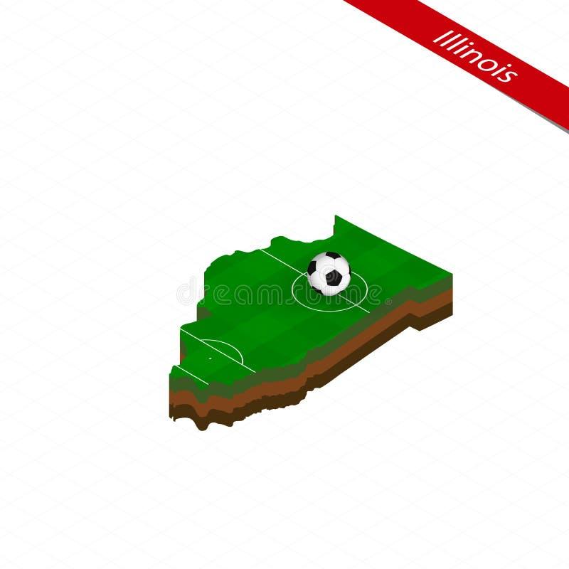 Isometrisk översikt av USA-staten Illinois med fotbollfältet Fotbollboll i mitt av fotbollgraden vektor illustrationer