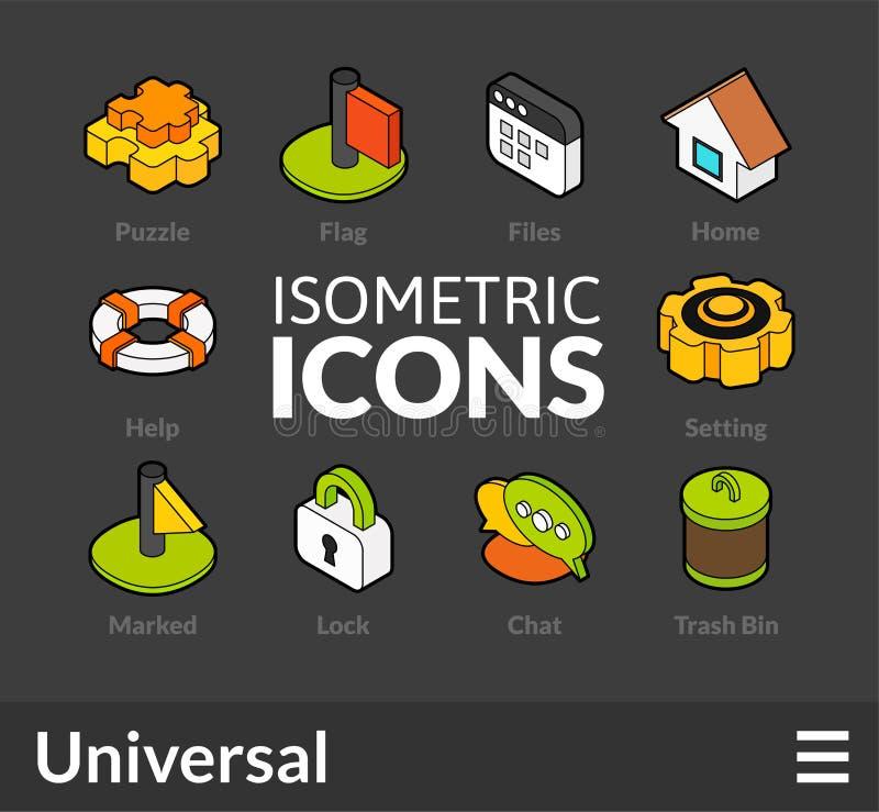 Isometrisk översiktssymbolsuppsättning 1 stock illustrationer