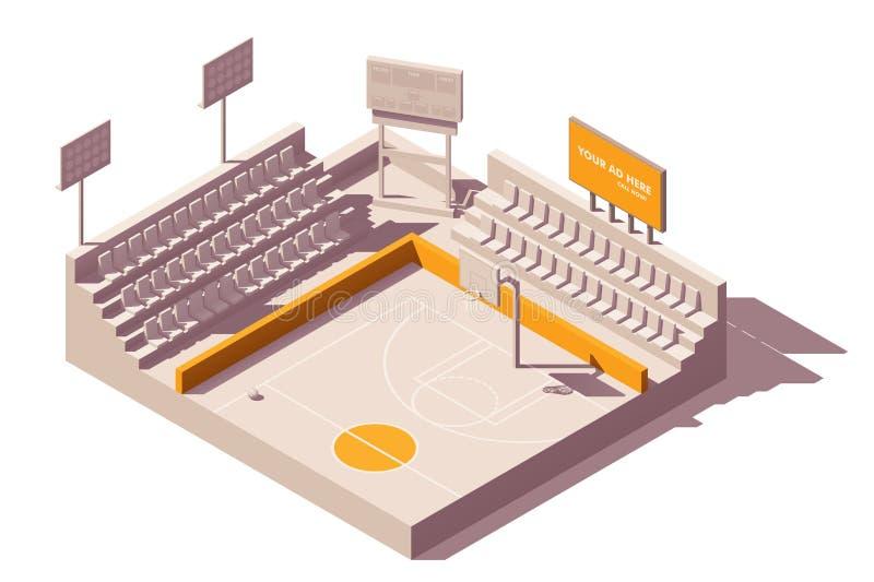 Isometrisk advertizing för vektor på stadion stock illustrationer