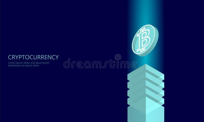 Isometrisk affärsidé för internetcryptocurrencymynt Blå glödande isometrisk Bitcoin myntfinans som bryter PC royaltyfri illustrationer