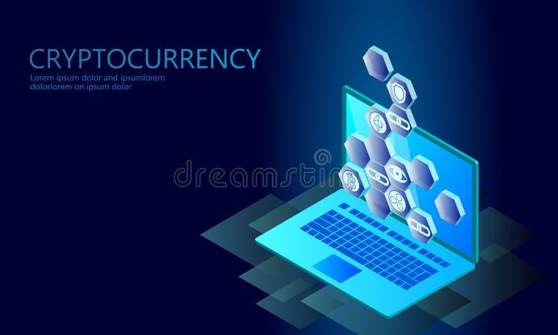 Isometrisk affärsidé för internetcryptocurrencymynt Blå glödande isometrisk finans för Bitcoin Ethereum krusningsmynt vektor illustrationer