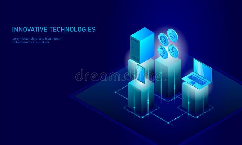 Isometrisk affärsidé för internetcryptocurrencymynt Blå glödande isometrisk finans för mynt för Bitcoin Ethereum krusningsGCC stock illustrationer