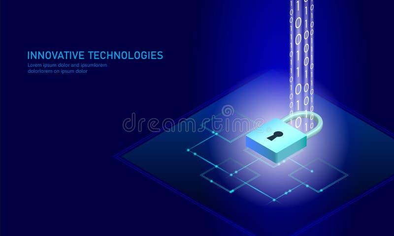 Isometrisk affärsidé för internetsäkerhetslås Blå glödande isometrisk för dataanslutning för personlig information PC royaltyfri illustrationer