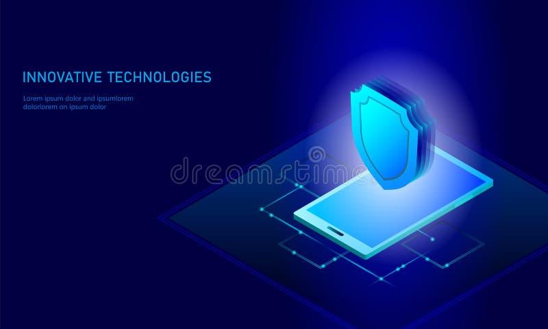 Isometrisk affärsidé för internetsäkerhetssköld Blå glödande isometrisk för dataanslutning för personlig information PC stock illustrationer