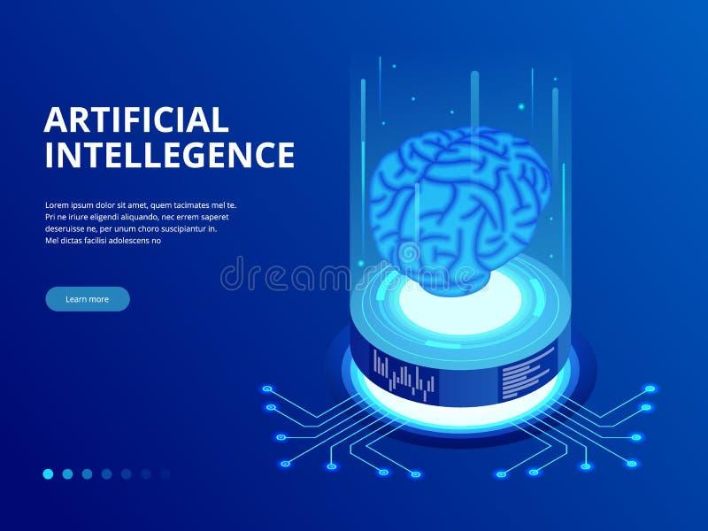 Isometrisk affärsidé för konstgjord intelligens Teknologi- och teknikbegrepp, smartphone för PC för dataanslutning vektor illustrationer