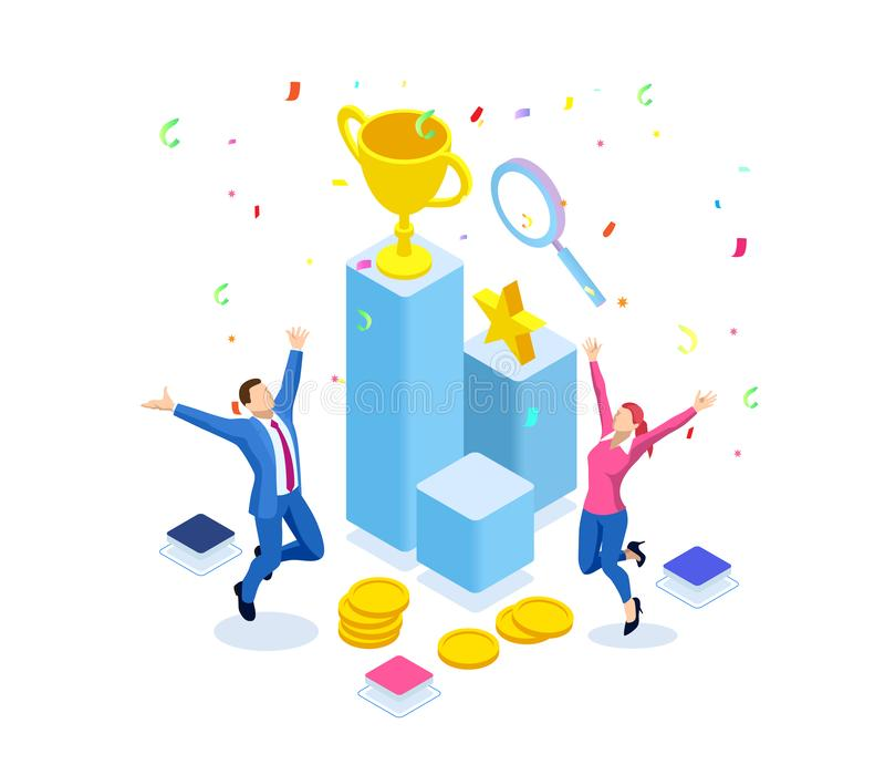 Isometrisk affärslagframgång, ledarskap, utmärkelser, karriär, lyckade projekt, mål som segrar plan, ledarskap royaltyfri illustrationer