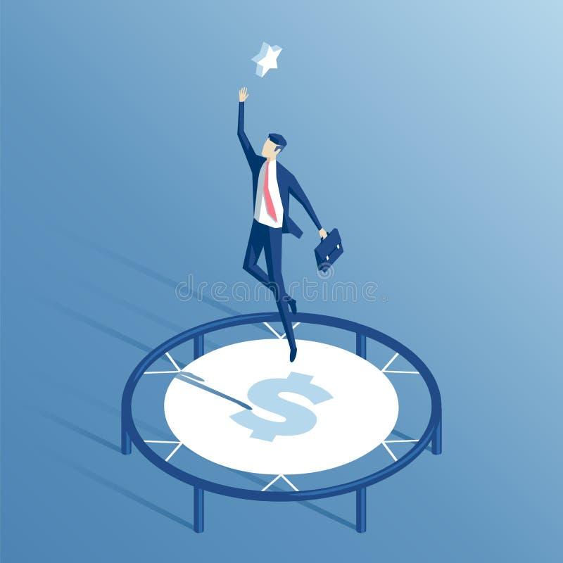 Isometrisk affärsman och trampolin stock illustrationer