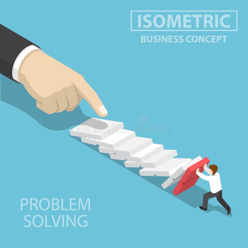 Isometrisk affärsman som 3d försöker att stoppa fallande dominobricka royaltyfri illustrationer