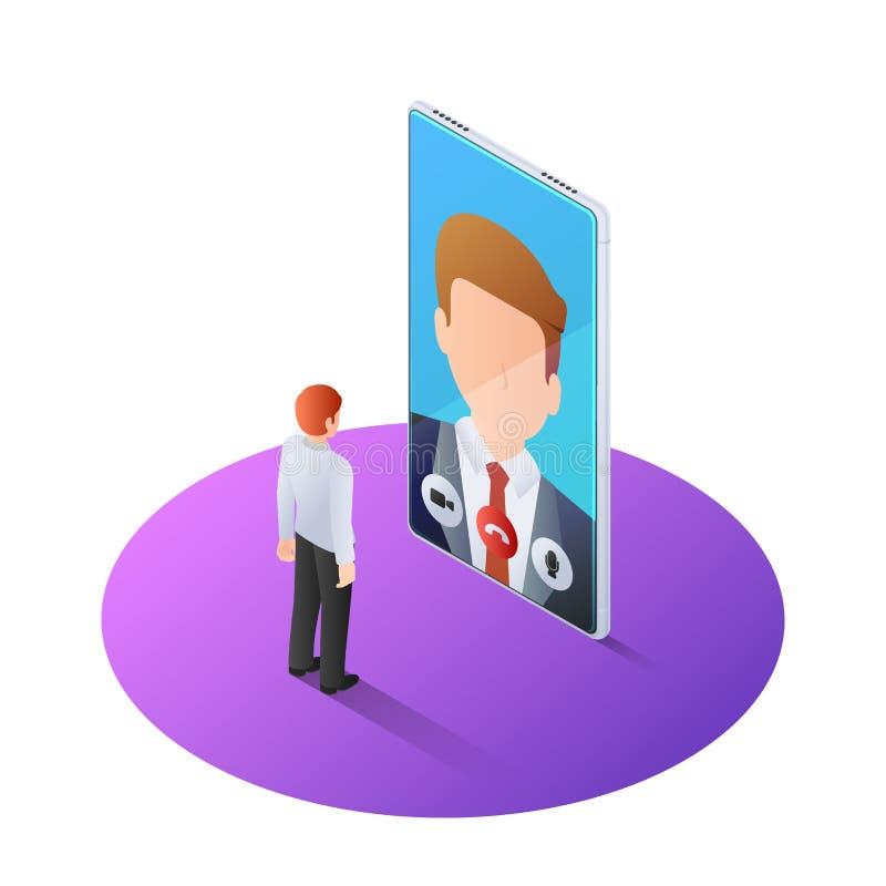 isometrisk affärsman som 3d har den videopd appellen med framstickandet på smartphonen stock illustrationer