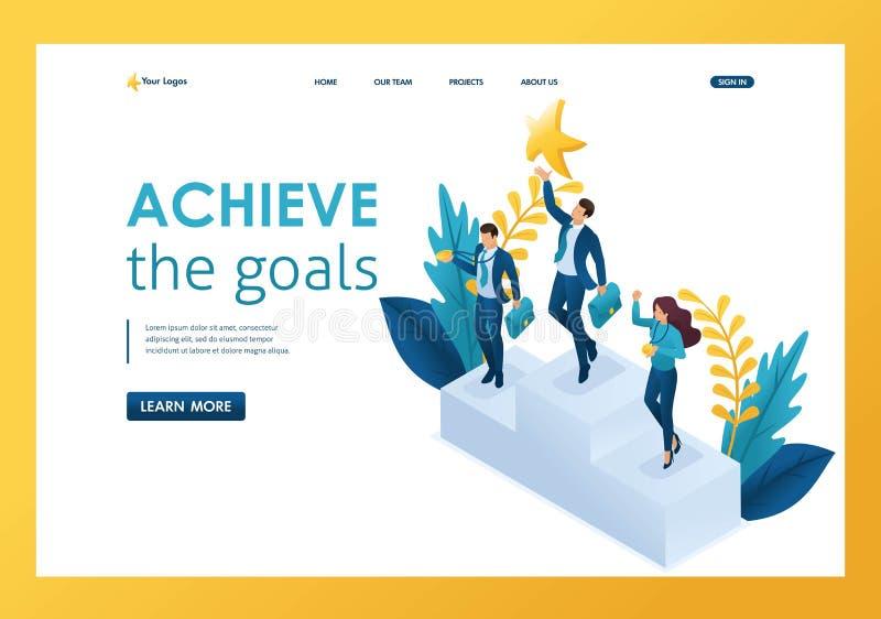 Isometrisk affärsman som når för en dröm och att uppnå mål som segrar framgång Malllandningsida stock illustrationer