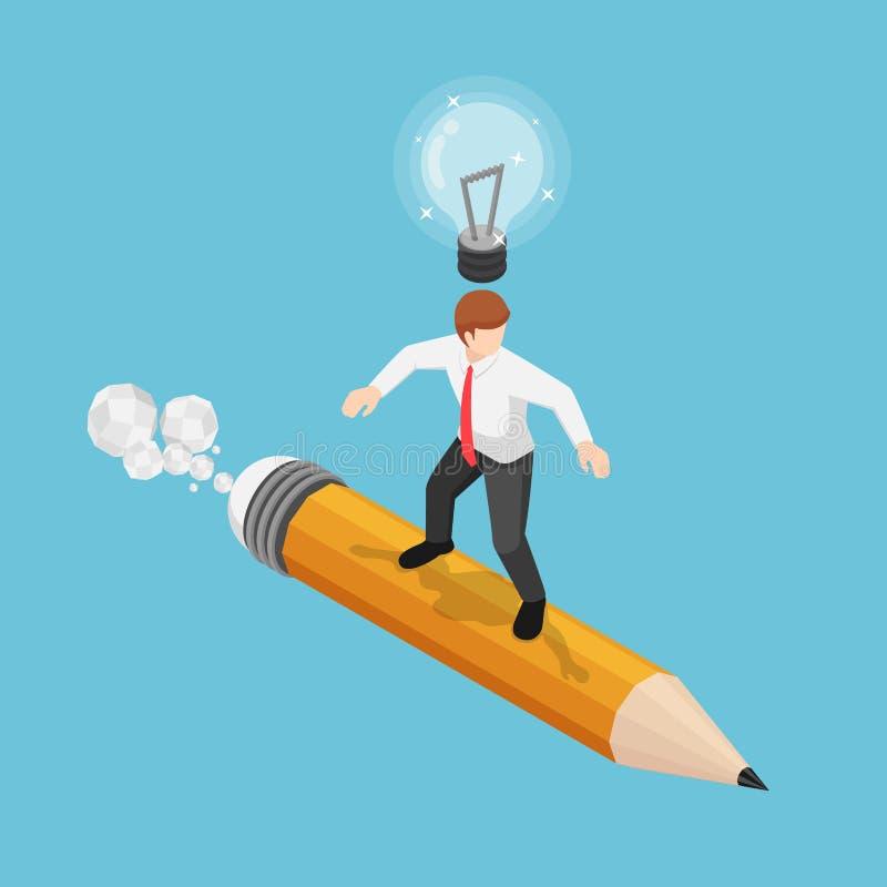 Isometrisk affärsman som surfar på blyertspennan med lightbulben över hans huvud royaltyfri illustrationer