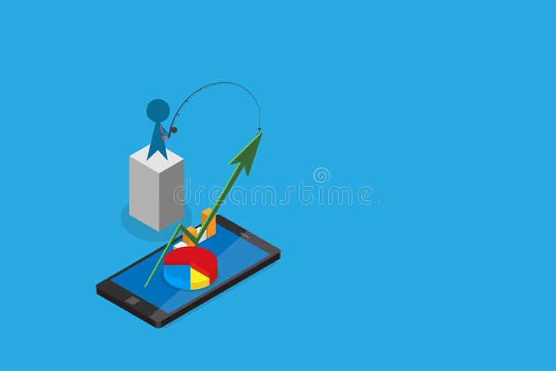Isometrisk affärsmanbruksmetspö som drar den gröna pilen från smartphonen, digitalt online- och affärsidé royaltyfri illustrationer