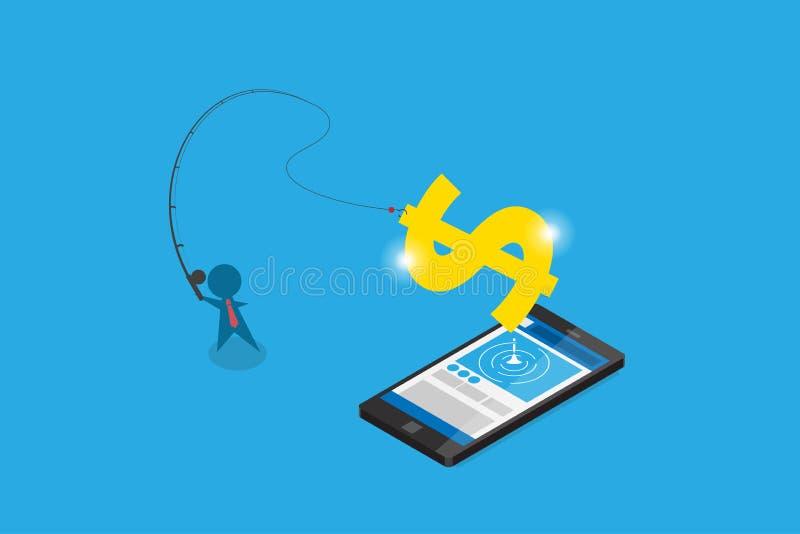 Isometrisk affärsmanbruksmetspö som får dollarsymbol från smartphonen, digitalt online- och affärsidé royaltyfri illustrationer