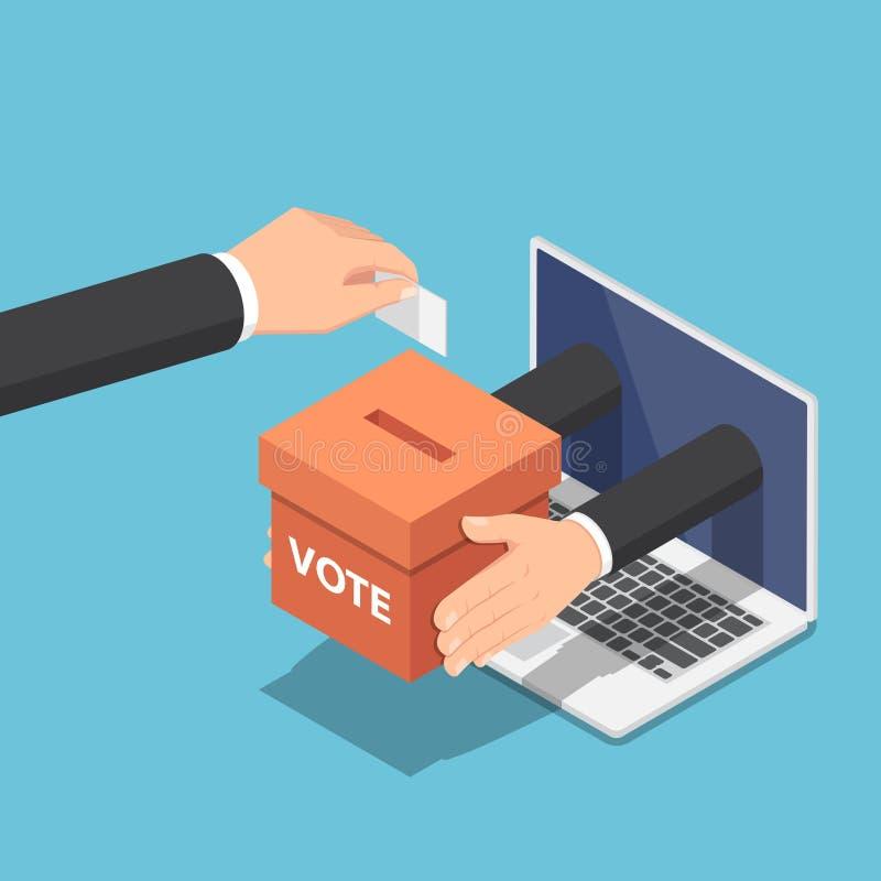 Isometrisk affärsmanhand som sätter röstsedel in i valurnan stock illustrationer