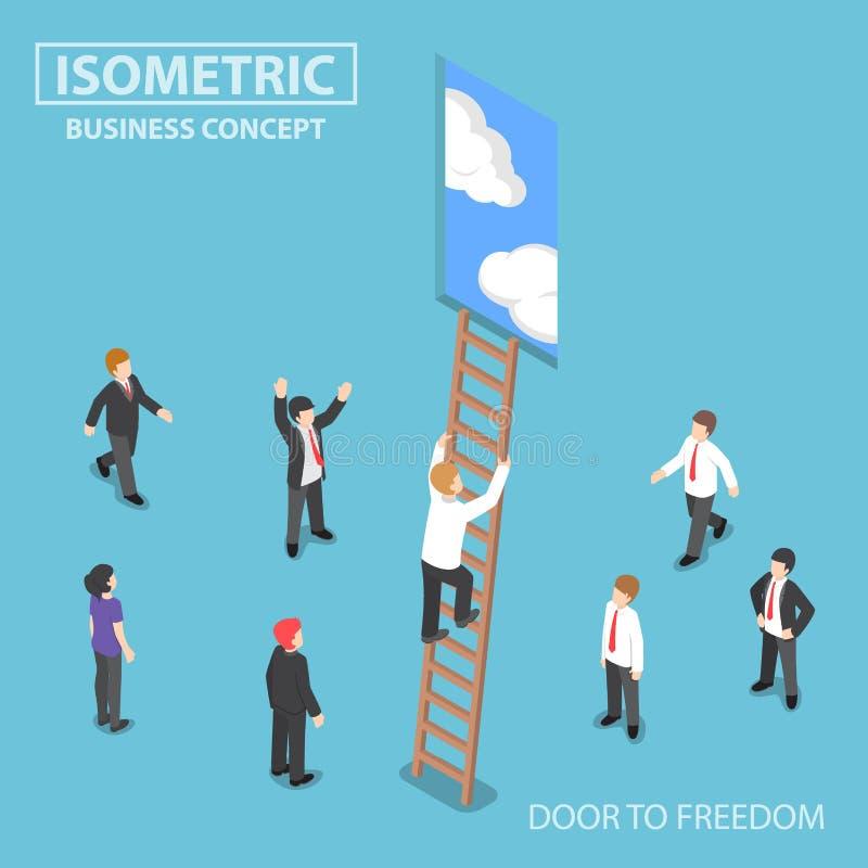 Isometrisk affärsmanklättringstege till dörren vektor illustrationer
