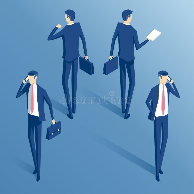 Isometrisk affärsmanuppsättning stock illustrationer