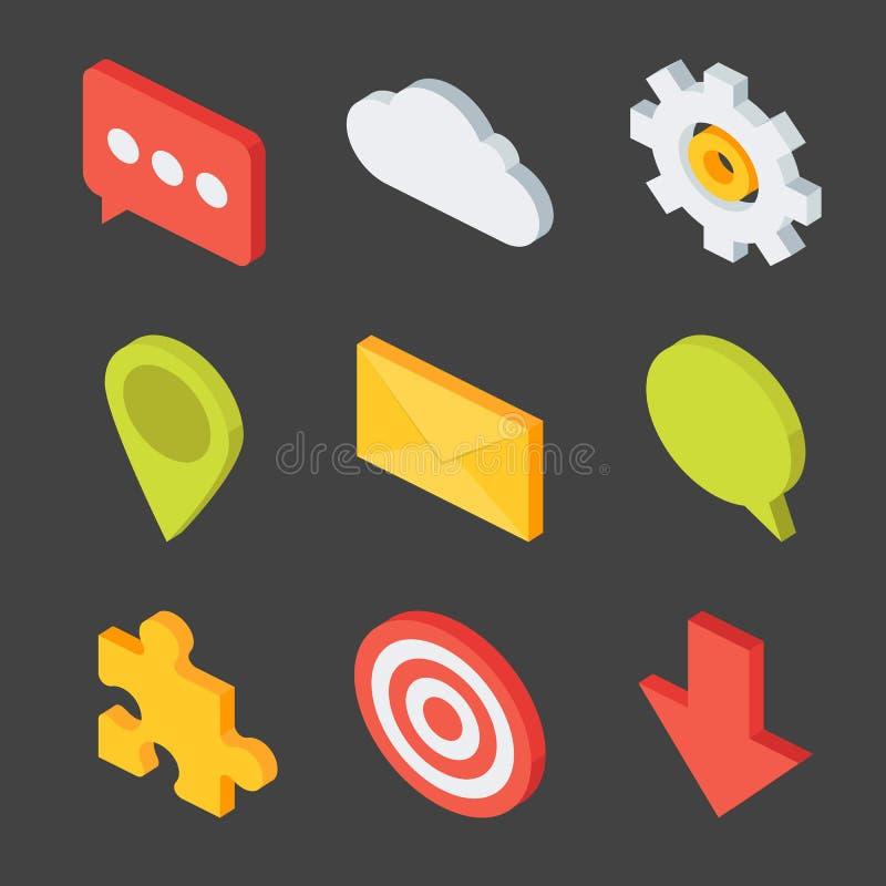 Isometrisk affärssymbolsuppsättning vektor illustrationer