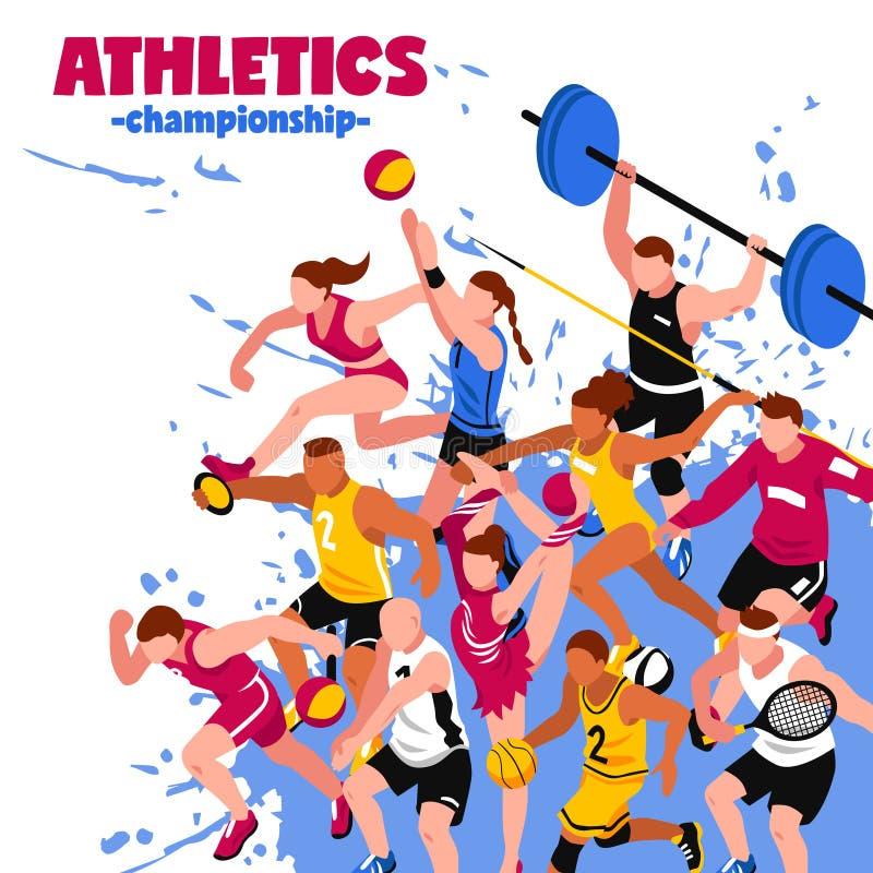 Isometrisk affisch för färgrik sport stock illustrationer